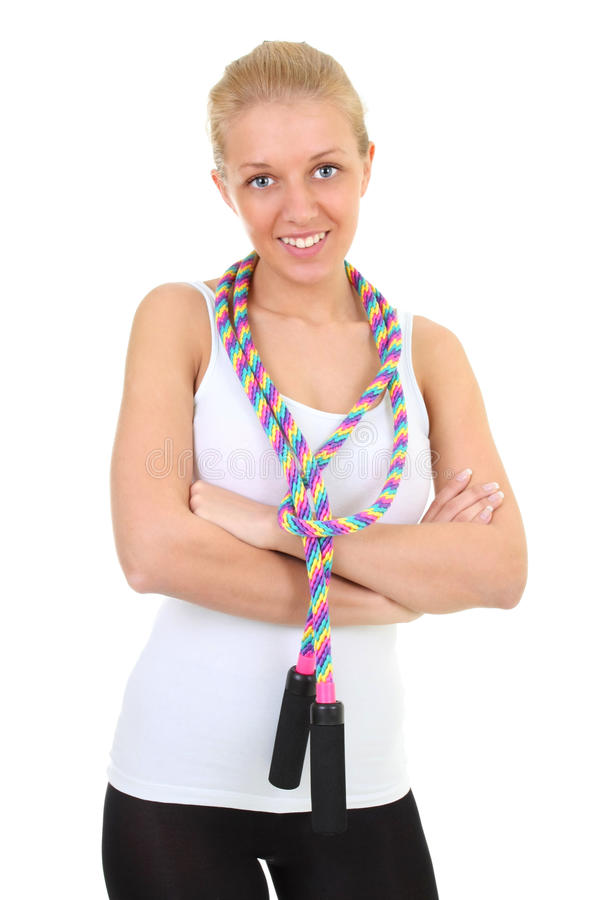 πήδημα σχοινιών κοριτσιών στοκ εικόνα