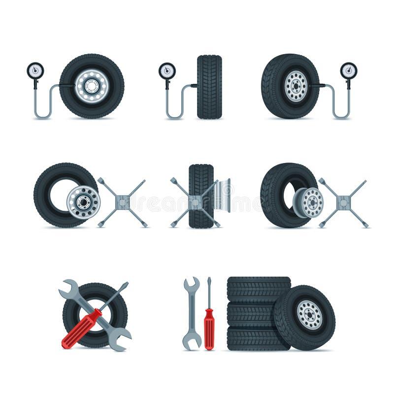 Πίεση διαγνωστική και εργαλεία ροδών αντικατάστασης Αυτοκινητικές ρόδες, διανυσματικά εικονίδια δίσκων καθορισμένα Στοιχεία σχεδί διανυσματική απεικόνιση