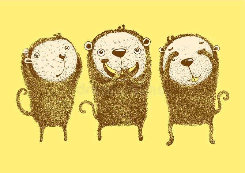 3 πίθηκοι, δεν ακούνε κανένα κακό, δεν βλέπουν κανένα κακό, δεν μιλούν κανένα κακό απεικόνιση αποθεμάτων