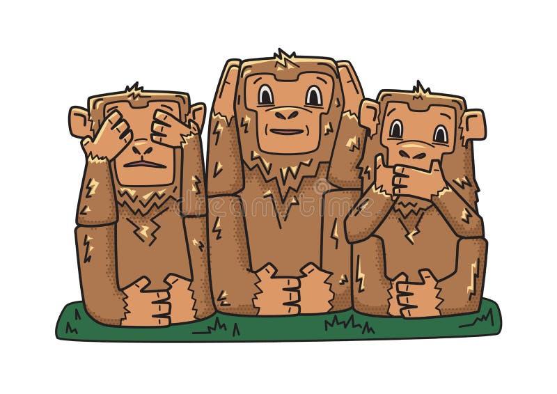 πίθηκοι τρία σοφοί απόκρυφοι πίθηκοι το κακό ακούει ότι κανένας δείτε να μιλήσετε Διανυσματική απεικόνιση χαρακτήρα, που απομονών ελεύθερη απεικόνιση δικαιώματος