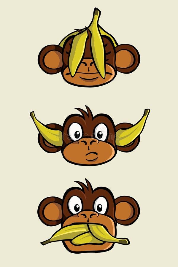 πίθηκοι τρία σοφοί απεικόνιση αποθεμάτων