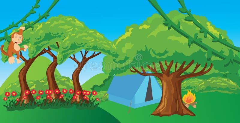 Πίθηκος ζουγκλών κρεμώντας δέντρο πίθηκων απεικόνισης κινούμενων σχεδίων στο δασικό απεικόνιση αποθεμάτων