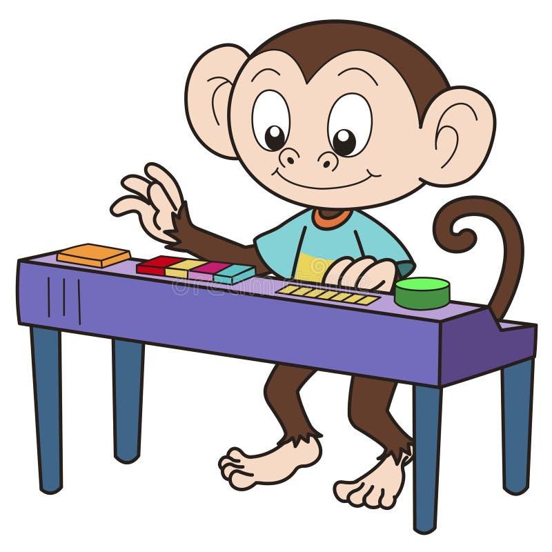 Πίθηκος κινούμενων σχεδίων που παίζει ένα ηλεκτρονικό όργανο διανυσματική απεικόνιση