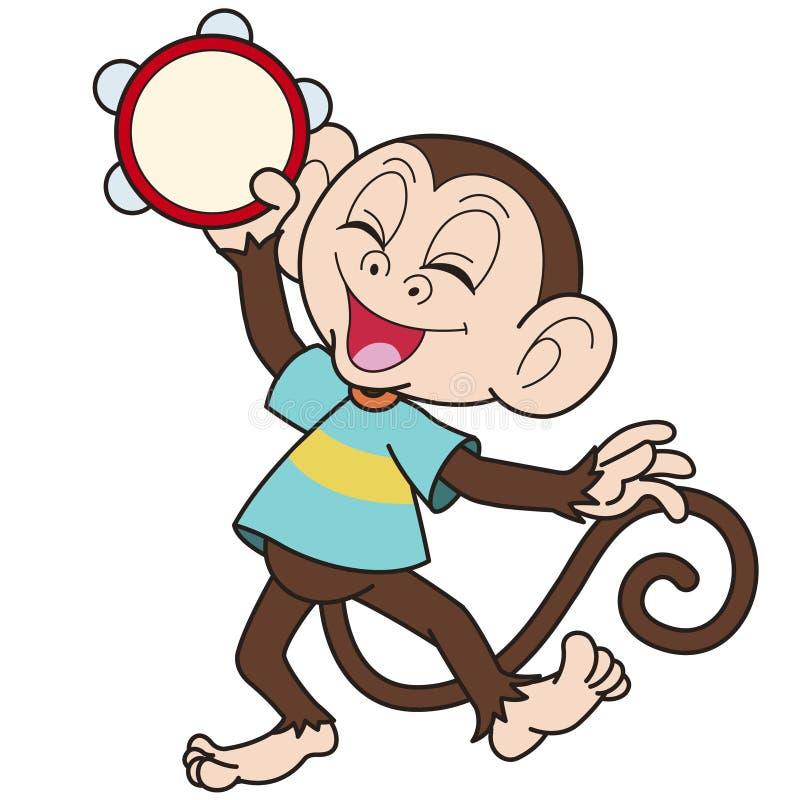 Πίθηκος κινούμενων σχεδίων που παίζει ένα ντέφι απεικόνιση αποθεμάτων