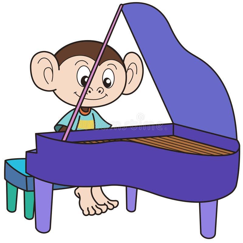 Πίθηκος κινούμενων σχεδίων που παίζει ένα Pinao διανυσματική απεικόνιση