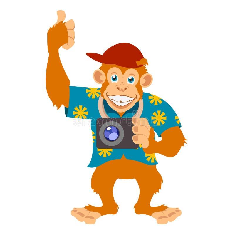 Πίθηκος με ένα έκκεντρο ελεύθερη απεικόνιση δικαιώματος