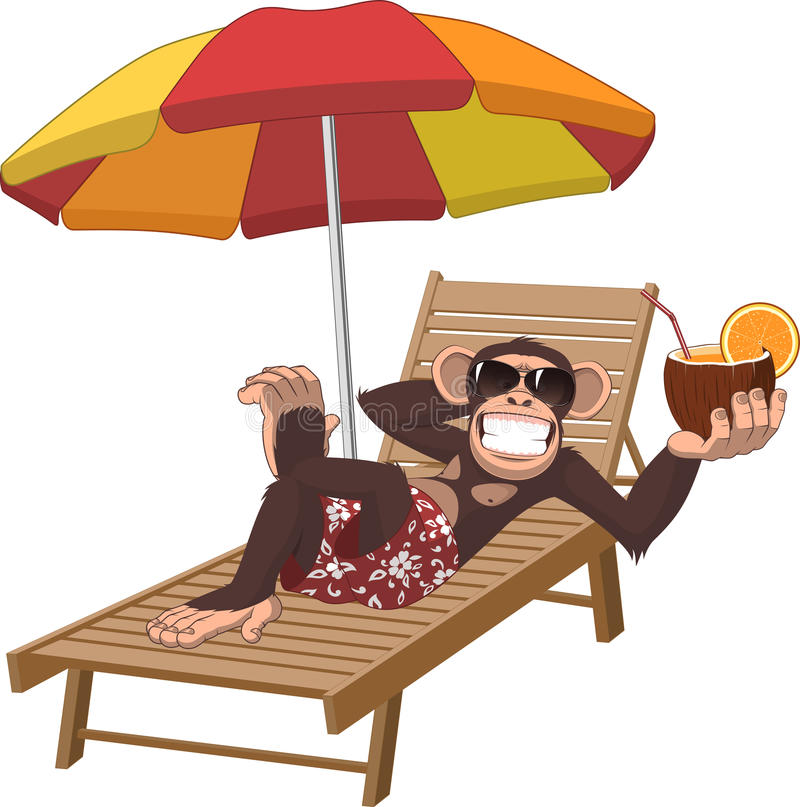 Πίθηκος με ένα κοκτέιλ ελεύθερη απεικόνιση δικαιώματος