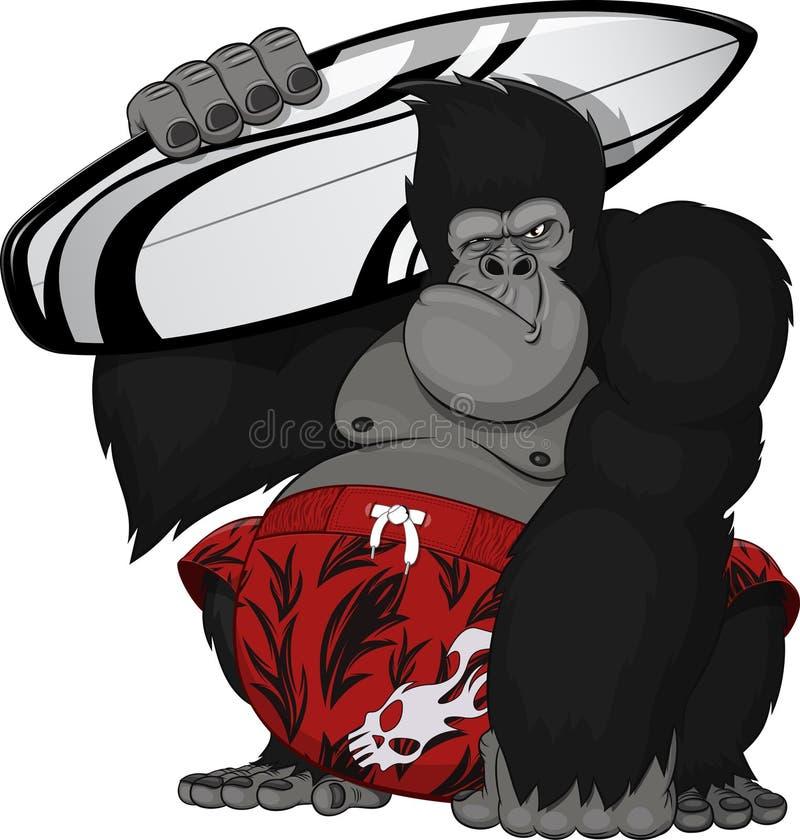 Πίθηκος με μια ιστιοσανίδα διανυσματική απεικόνιση