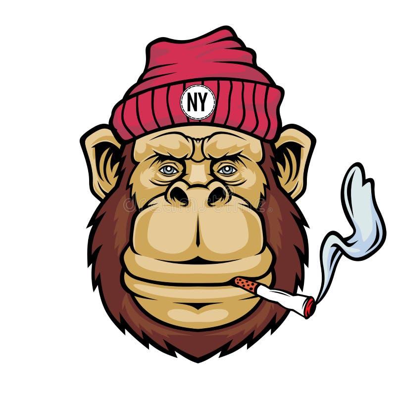 Πίθηκος που καπνίζει ένα τσιγάρο Λογότυπο μασκότ ελεύθερη απεικόνιση δικαιώματος