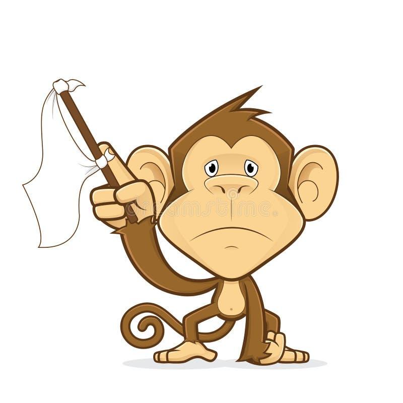 Πίθηκος που κυματίζει μια άσπρη σημαία ελεύθερη απεικόνιση δικαιώματος
