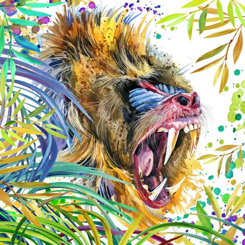 Πίθηκος στην τροπική απεικόνιση φύσης watercolor τροπικών δασών wildlife διανυσματική απεικόνιση