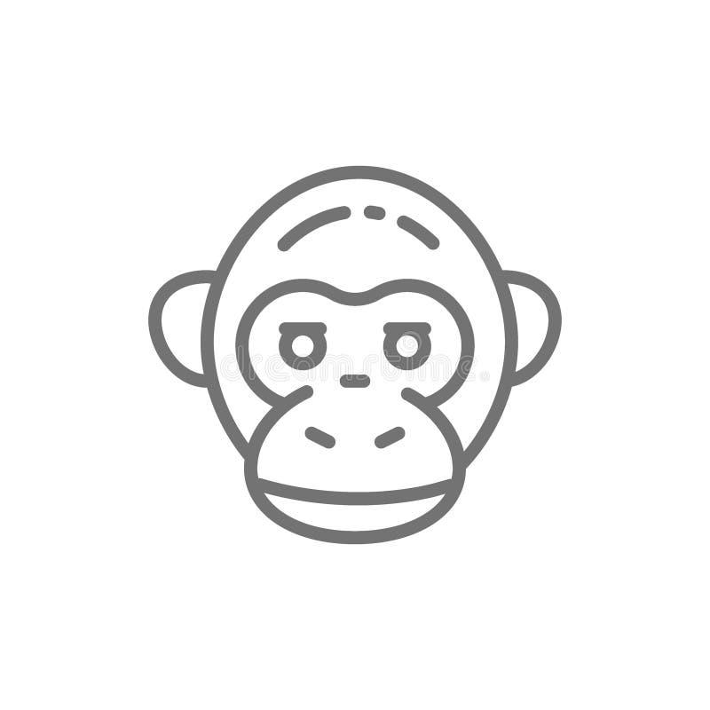 Πίθηκος, χιμπατζής, επικεφαλής εικονίδιο γραμμών γορίλλων διανυσματική απεικόνιση