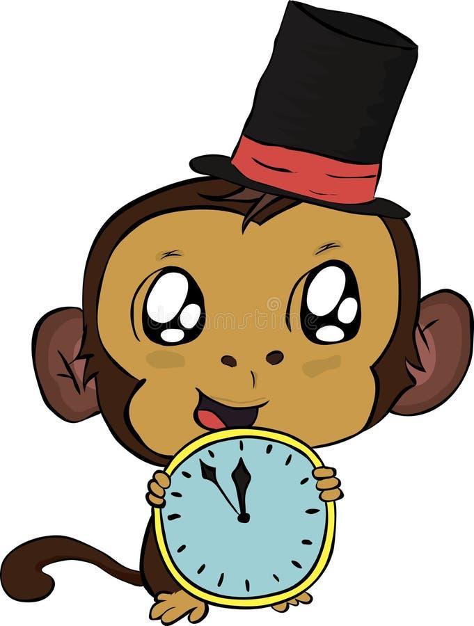 Πίθηκος Χριστουγέννων με το ρολόι διανυσματική απεικόνιση