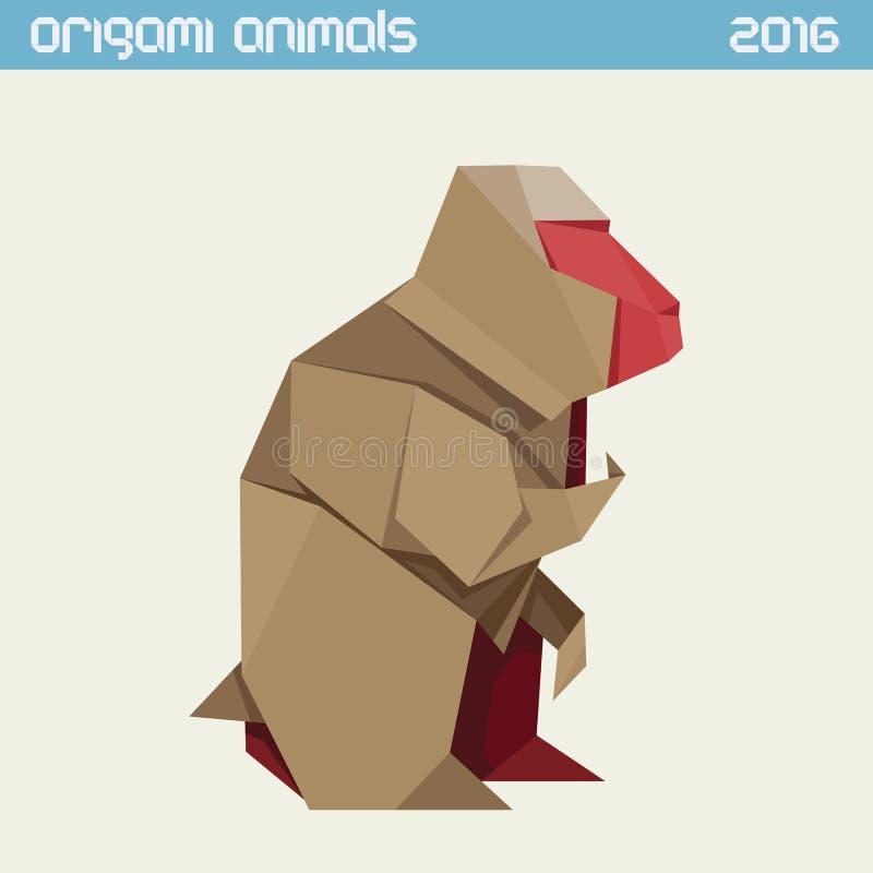 Πίθηκος Origami Διανυσματική απλή επίπεδη απεικόνιση Νέο έτος 2016 διανυσματική απεικόνιση
