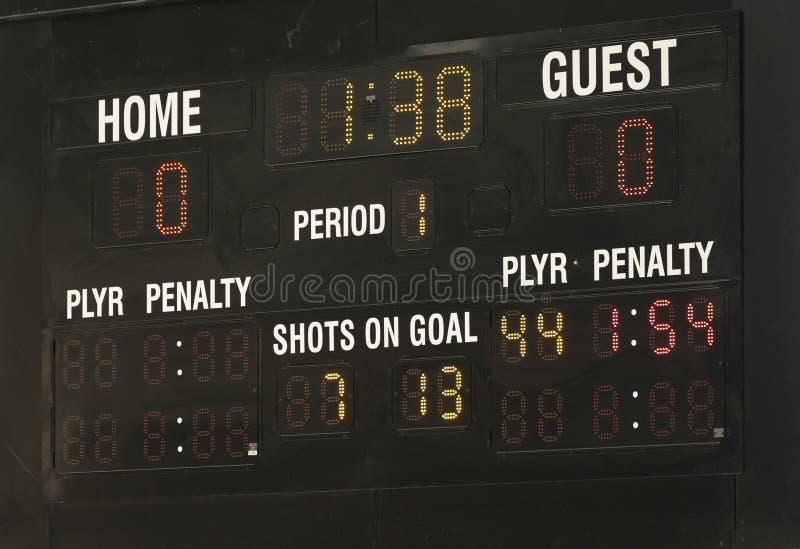 Πίνακας βαθμολογίας χόκεϋ πάγου στοκ φωτογραφία
