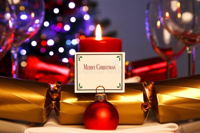 Πίνακας γευμάτων Χριστουγέννων φωτός ιστιοφόρου στοκ φωτογραφία