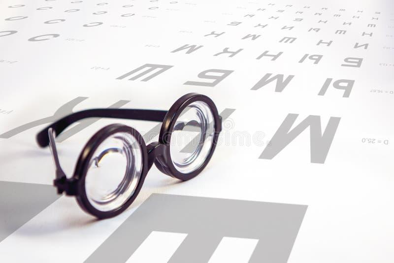 Πίνακας για τις δοκιμές ματιών και γυαλιά με τους παχιούς φακούς στοκ εικόνες