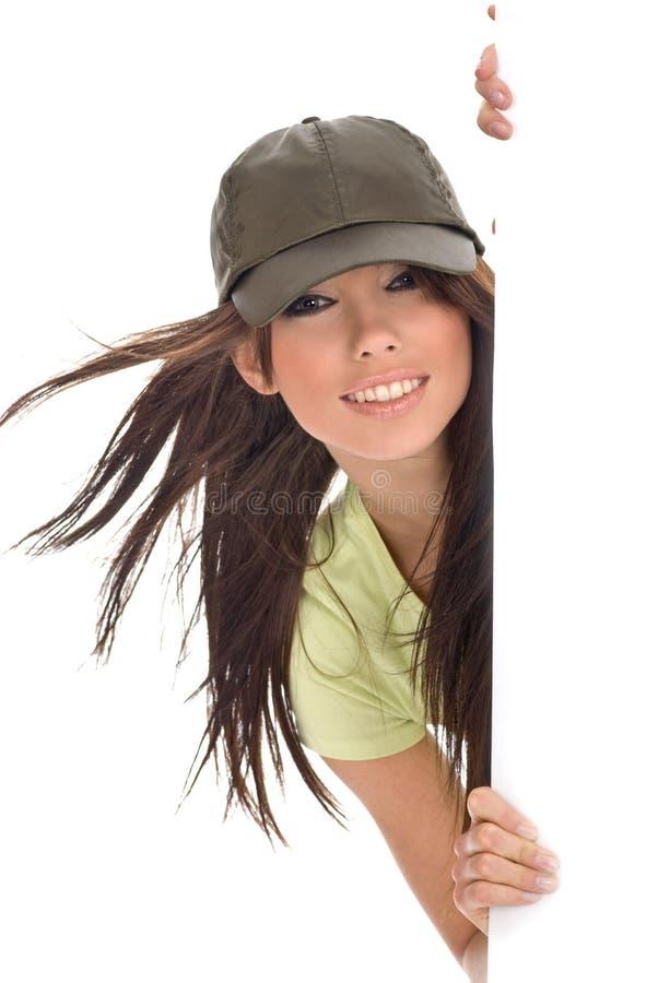 πίνακας διαφημίσεων που κρατά την προκλητική γυναίκα στοκ εικόνες με δικαίωμα ελεύθερης χρήσης