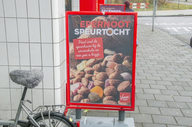 Πίνακας διαφημίσεων Sinterklaas από την υπεραγορά Vomar στο Άμστερνταμ οι Κάτω Χώρες 2018 στοκ εικόνα με δικαίωμα ελεύθερης χρήσης
