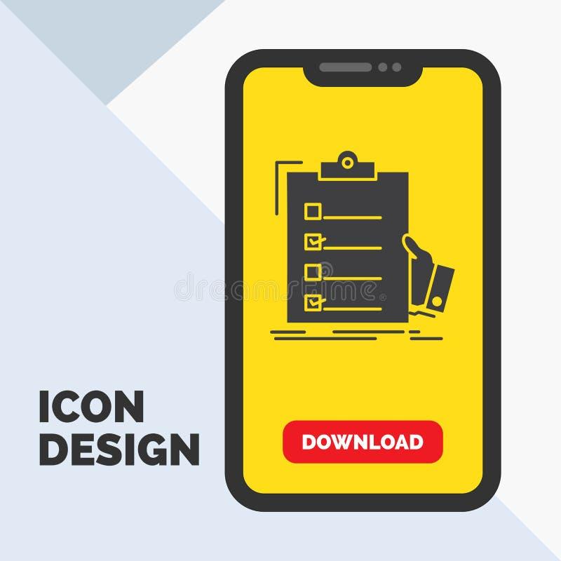 πίνακας ελέγχου, έλεγχος, πείρα, κατάλογος, εικονίδιο Glyph περιοχών αποκομμάτων σε κινητό για Download τη σελίδα r διανυσματική απεικόνιση