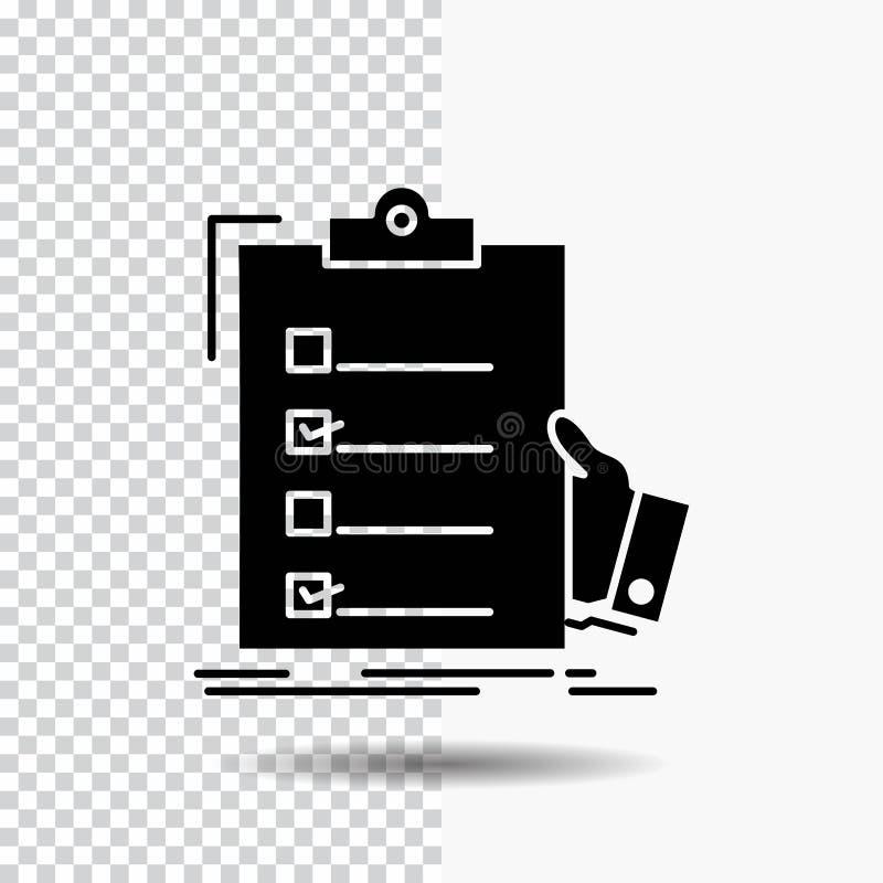 πίνακας ελέγχου, έλεγχος, πείρα, κατάλογος, εικονίδιο Glyph περιοχών αποκομμάτων στο διαφανές υπόβαθρο r διανυσματική απεικόνιση