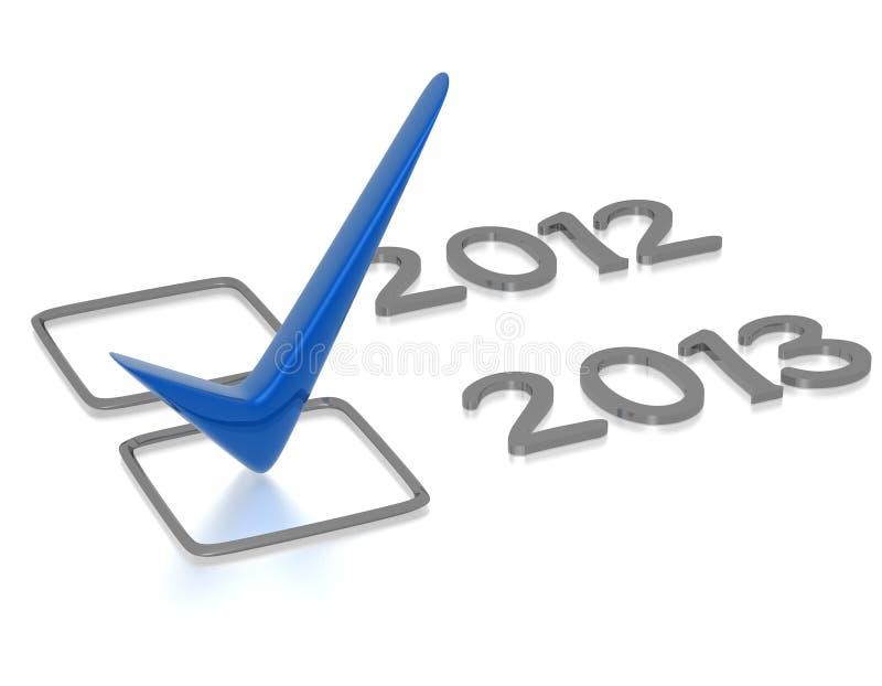 Πίνακας ελέγχου με τον μπλε νέο έλεγχο έτους του 2013 ελεύθερη απεικόνιση δικαιώματος