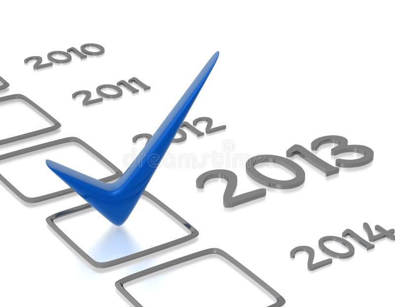 Πίνακας ελέγχου με τον μπλε νέο έλεγχο έτους του 2013 διανυσματική απεικόνιση