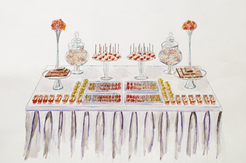 Πίνακας επιδορπίων για μια δεξίωση γάμου χέρι σχεδίων νεολαίες γυναικών εσώρουχων πρωινού της οι επάνω θερμές Pictu Watercolor ελεύθερη απεικόνιση δικαιώματος