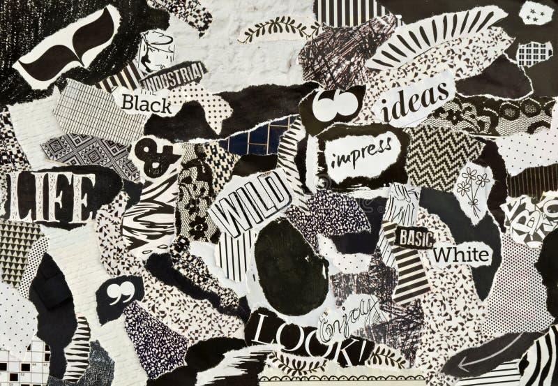 Πίνακας διάθεσης κολάζ φιαγμένος από σχισμένα κομμάτια χαρτί ελεύθερη απεικόνιση δικαιώματος
