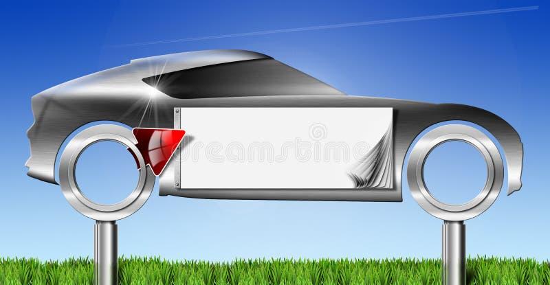 Πίνακας διαφημίσεων μετάλλων αυτοκινήτων με το κόκκινο βέλος διανυσματική απεικόνιση