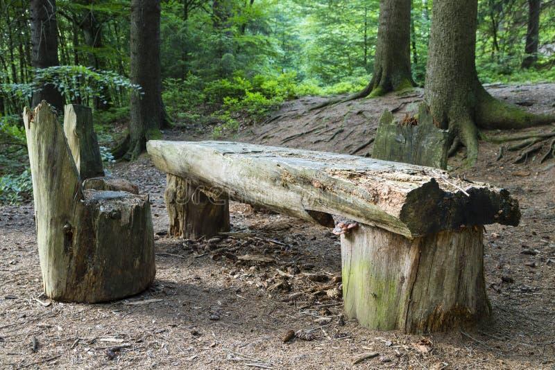 Πίνακας και έδρες σε ένα δάσος στοκ φωτογραφία με δικαίωμα ελεύθερης χρήσης