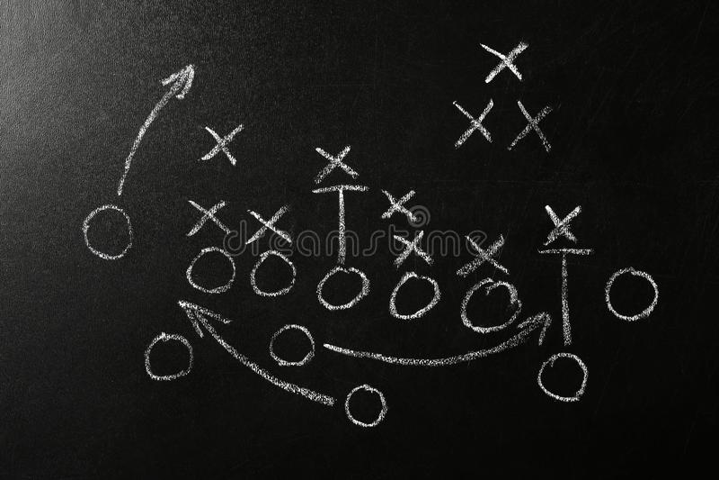 Πίνακας κιμωλίας με το σχέδιο του ποδοσφαιρικού παιχνιδιού Παιχνίδι ομάδας ελεύθερη απεικόνιση δικαιώματος