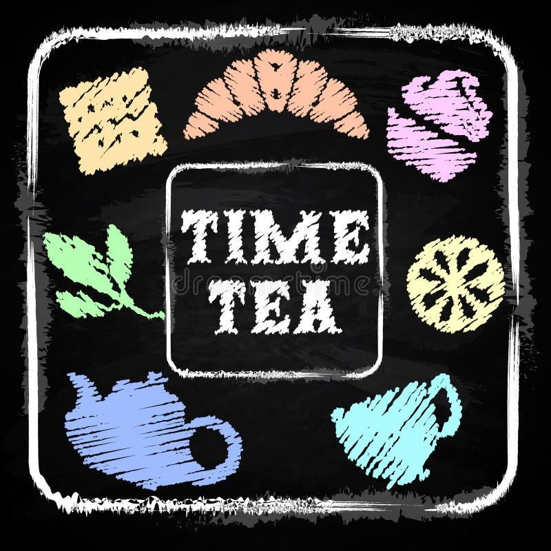 Πίνακας κιμωλίας Καθορισμένο χρονικό τσάι ελεύθερη απεικόνιση δικαιώματος