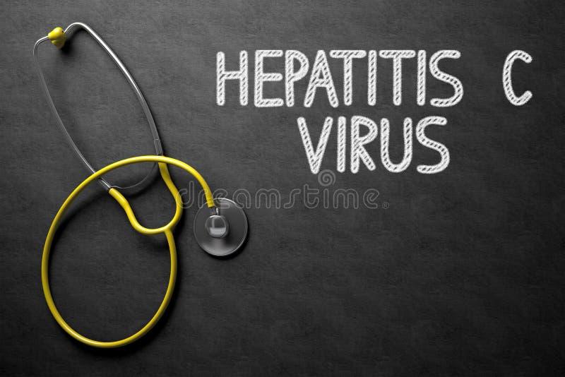 Πίνακας κιμωλίας με την έννοια ιών ηπατίτιδας Γ τρισδιάστατη απεικόνιση στοκ εικόνες