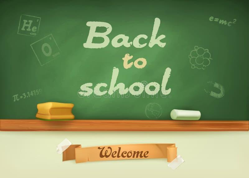 Πίνακας κιμωλίας με το σημάδι πίσω στο σχολείο διανυσματική απεικόνιση