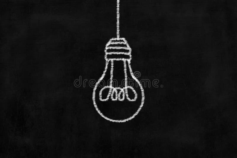 Πίνακας κιμωλίας με το σχέδιο κιμωλίας της ένωσης της λάμπας φωτός στοκ φωτογραφία