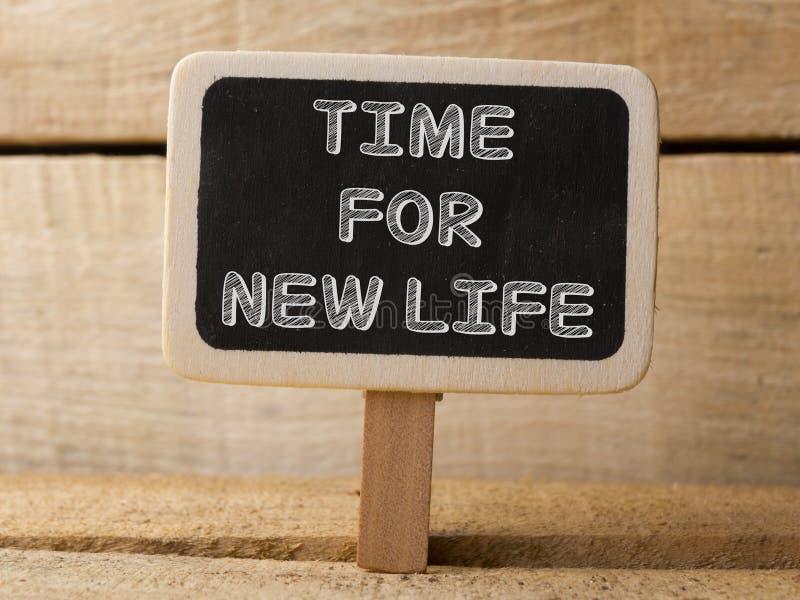 Πίνακας κιμωλίας με το χρόνο για τη νέα λέξη εργασίας στο ξύλινο υπόβαθρο στοκ εικόνες