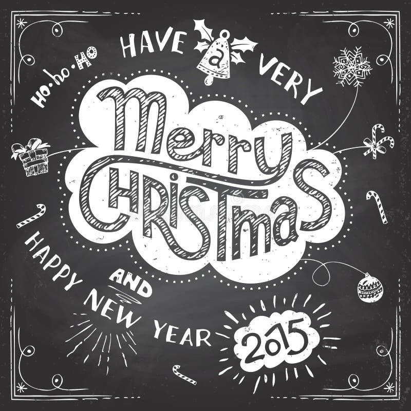Πίνακας κιμωλίας Χαρούμενα Χριστούγεννας doodle απεικόνιση αποθεμάτων