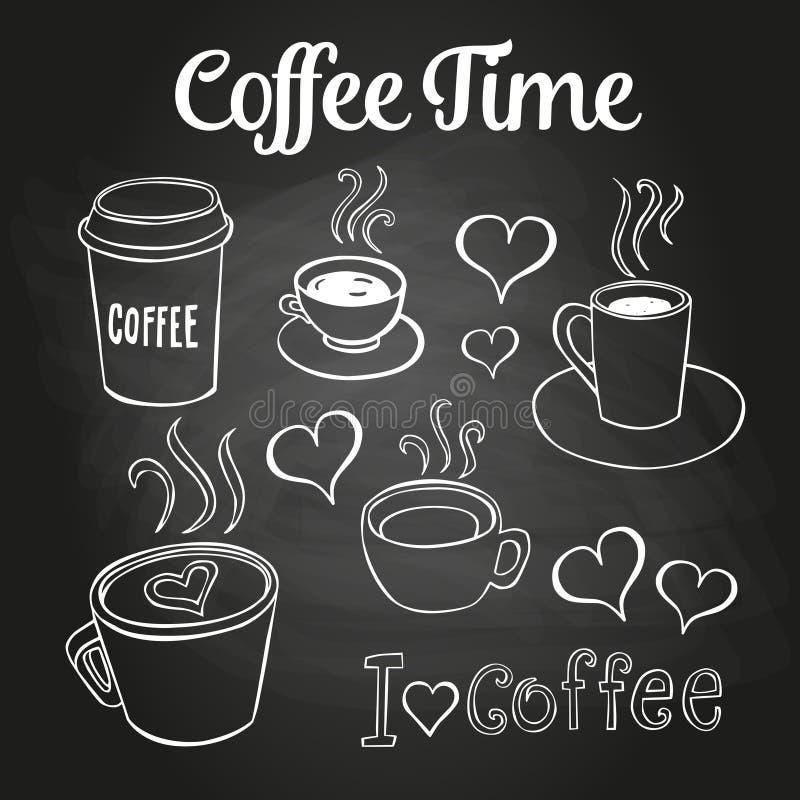 Πίνακας κιμωλίας Doodles καφέ διανυσματική απεικόνιση