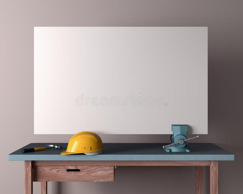 Πίνακας, κράνος και ξυλουργική εργασίας vises στο κενό υπόβαθρο τοίχων, ελεύθερη απεικόνιση δικαιώματος