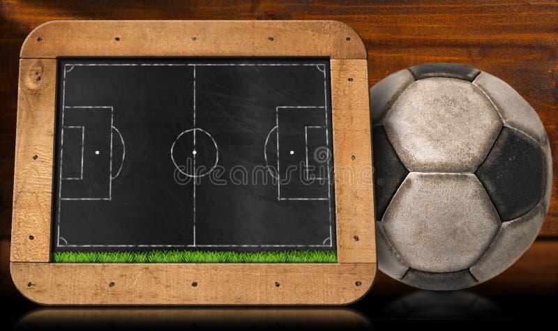 Πίνακας με το αγωνιστικό χώρο ποδοσφαίρου και τη σφαίρα διανυσματική απεικόνιση