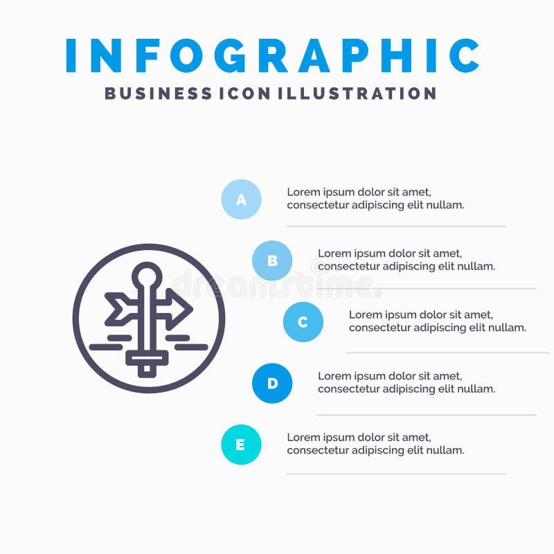 Πίνακας, οδηγός, χάρτης, δείκτης χαρτών, εικονίδιο γραμμών ταξιδιού με το υπόβαθρο infographics παρουσίασης 5 βημάτων ελεύθερη απεικόνιση δικαιώματος