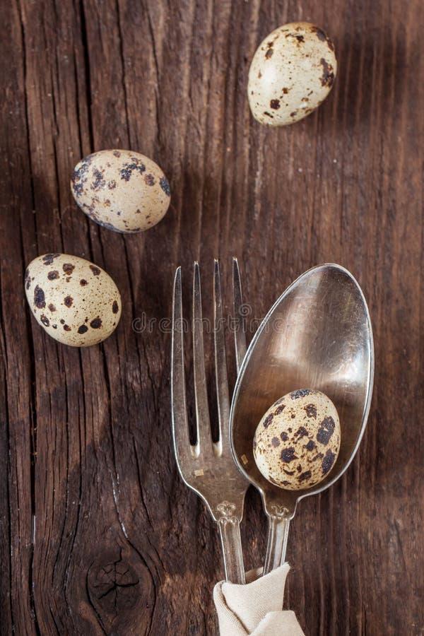 Πίνακας Πάσχας που θέτει με τα αυγά νησοπέρδικων στοκ εικόνα με δικαίωμα ελεύθερης χρήσης