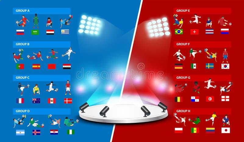 Πίνακας 2018 παγκόσμια πρωταθλήματα ποδοσφαίρου στη Ρωσία ελεύθερη απεικόνιση δικαιώματος