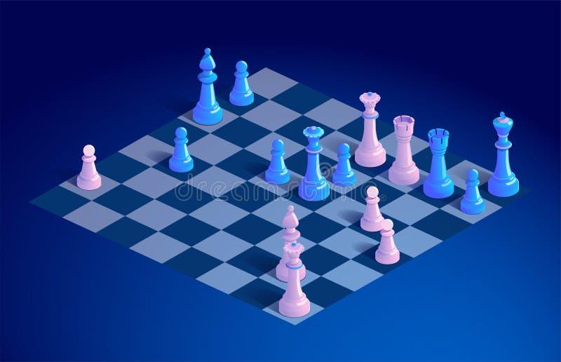Σκακιέρα με τα κομμάτια σκακιού ελεύθερη απεικόνιση δικαιώματος
