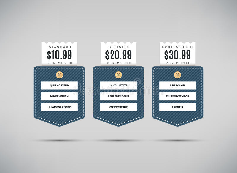 Πίνακας τιμολόγησης Ιστού με τη σύγκριση των υπηρεσιών επιχείρησης ελεύθερη απεικόνιση δικαιώματος