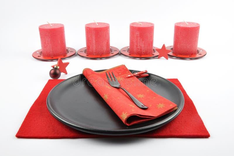 Πίνακας Christmassy που θέτει με αισθητός και κεριά στοκ εικόνες