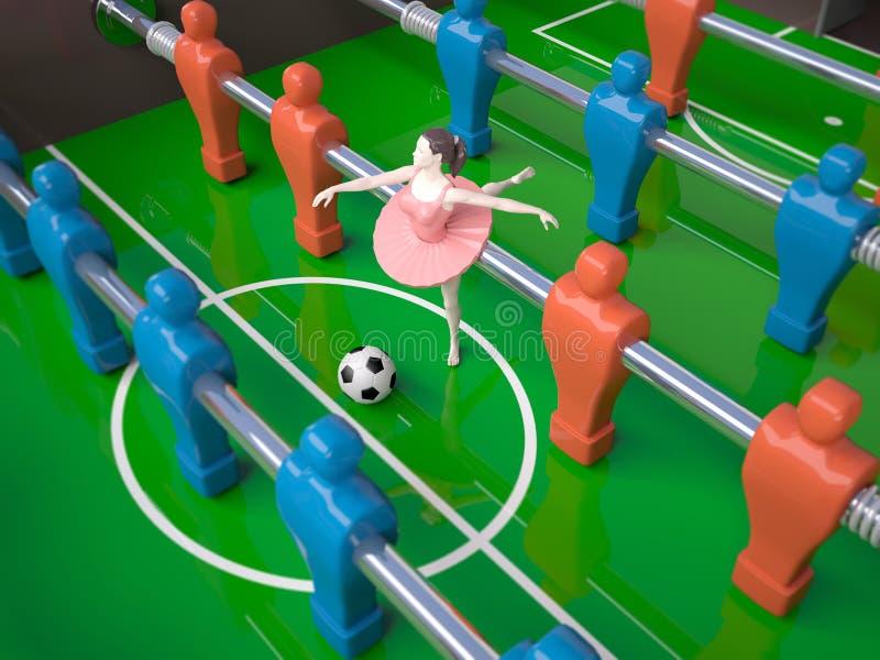 Πίνακας Foosball με το κορίτσι χορευτών, θηλυκές αθλητικές έννοιες απεικόνιση αποθεμάτων