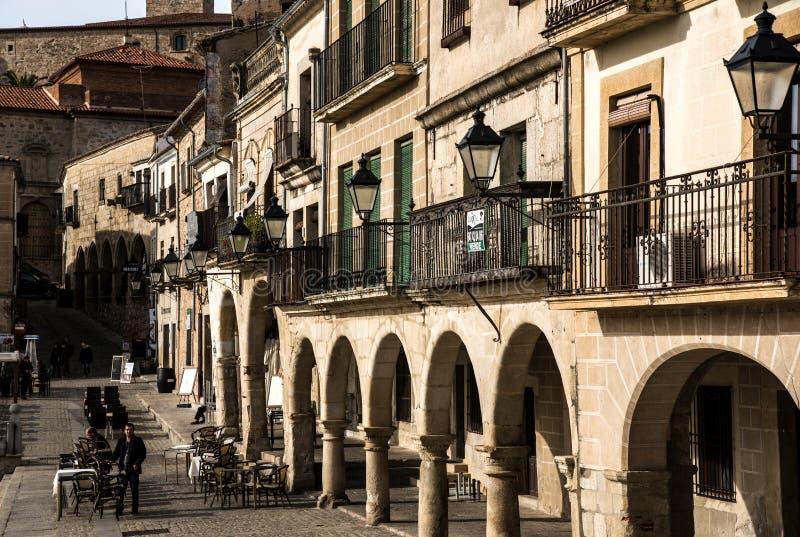 Πίνακες Arcades και εστιατορίων Trujillo, Ισπανία, στοκ εικόνες με δικαίωμα ελεύθερης χρήσης