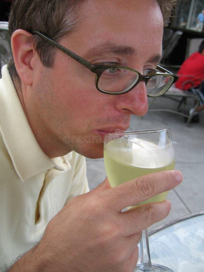 Download πίνοντας άσπρο κρασί ατόμων Στοκ Εικόνα - εικόνα από κοίταγμα, sipping: 375065